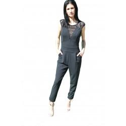 Combinaison pantalon noire avec effet transparent à dentelles